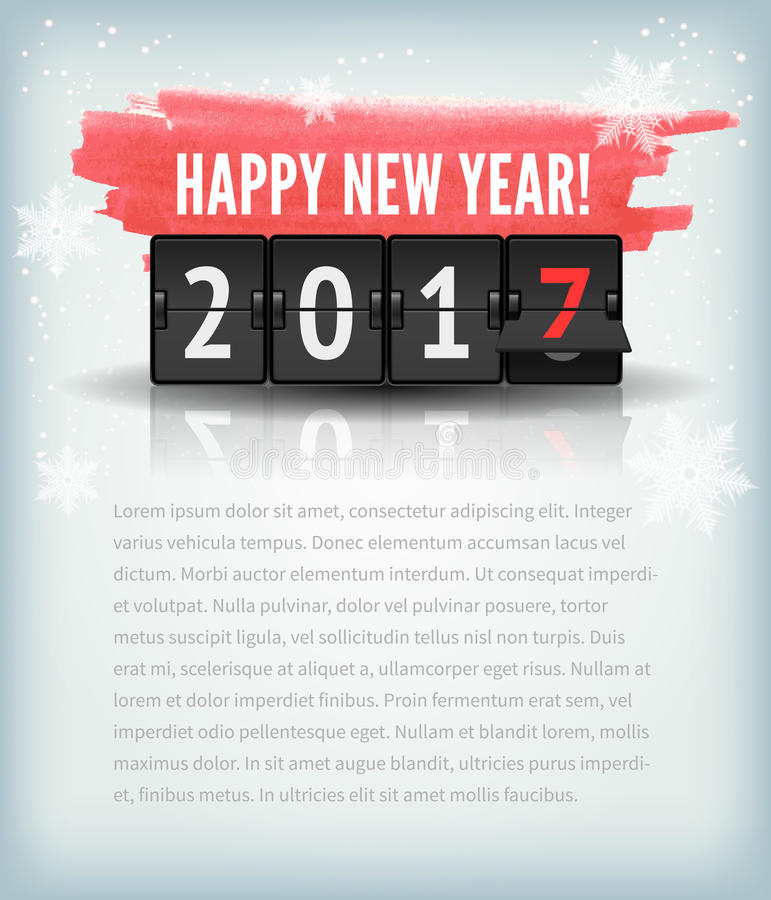Happy New Year blue background with snowflakesand scoreboard. Vector Illustration. Happy New Year greeting card or web page with snowflakes and 2017 analog stock illustration