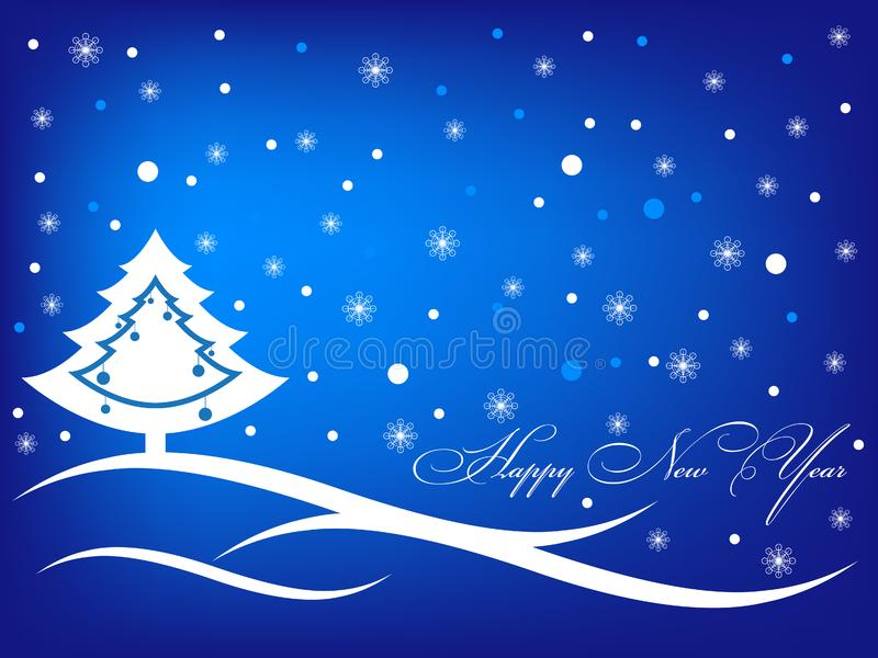 Download Happy New Year Blue Greeting Inscription Card Stock Vector - Illustration of tree, merry: 17122078