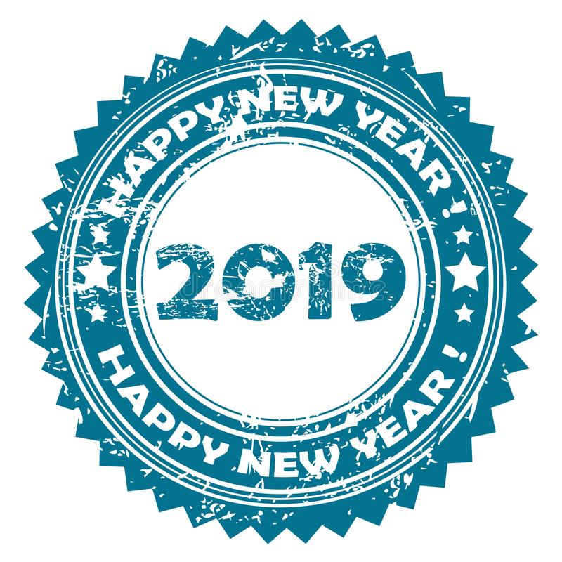 2019 Happy New Year blue rubber stamp vector illustration