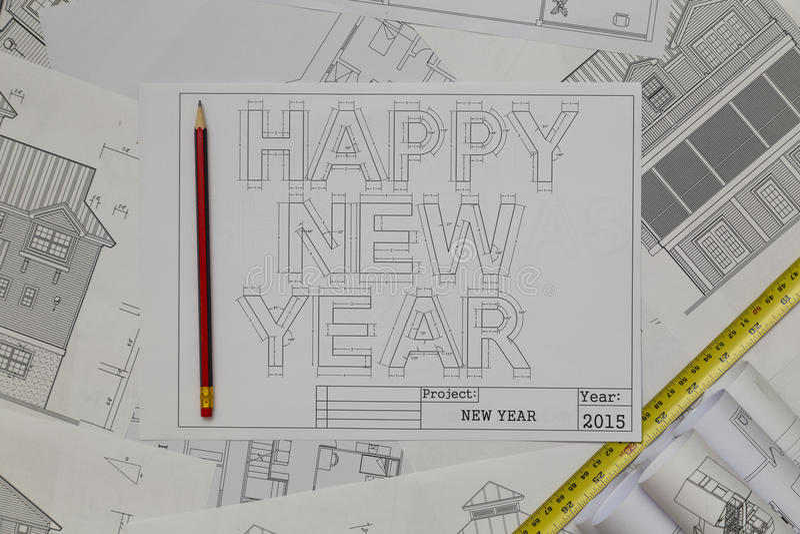 Happy New Year Blueprint stock image