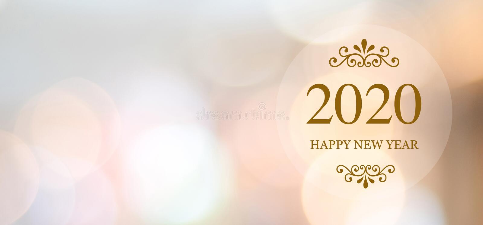 Happy New Year 2020 on blur abstract bokeh background with copy space for text, new year greeting card, banner vector illustration