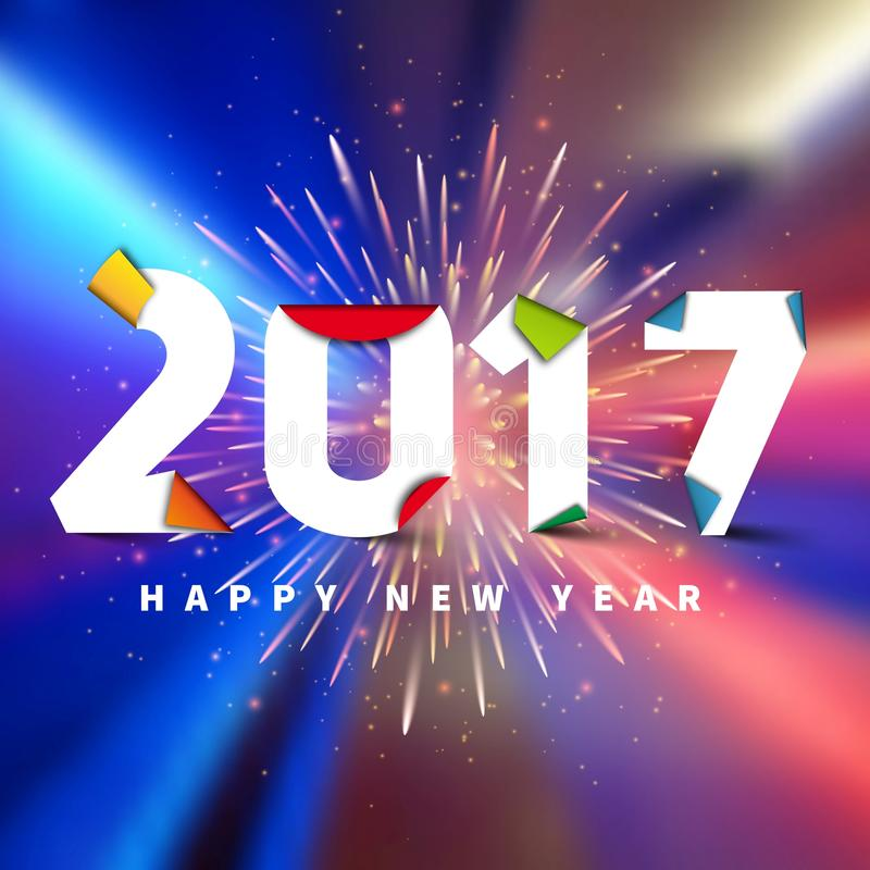 Happy new year 2017. On bokeh blurred background with fireworks, Vector simple style illustration stock illustration