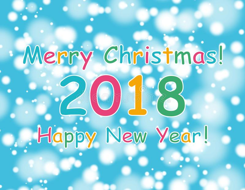 Happy new year 2018 with bokeh and lens flare pattern on blue sky background. vector vector illustration