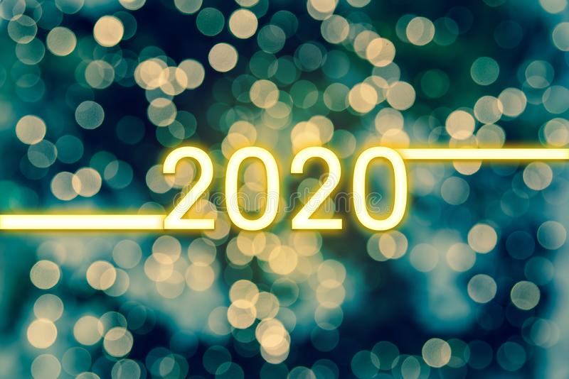 Happy New Year 2020. Bokeh Lights Abstract Background royalty free stock images