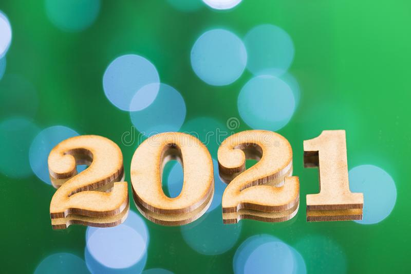 Happy New Year. Numbers in wooden figures. Year 2021 royalty free stock photography