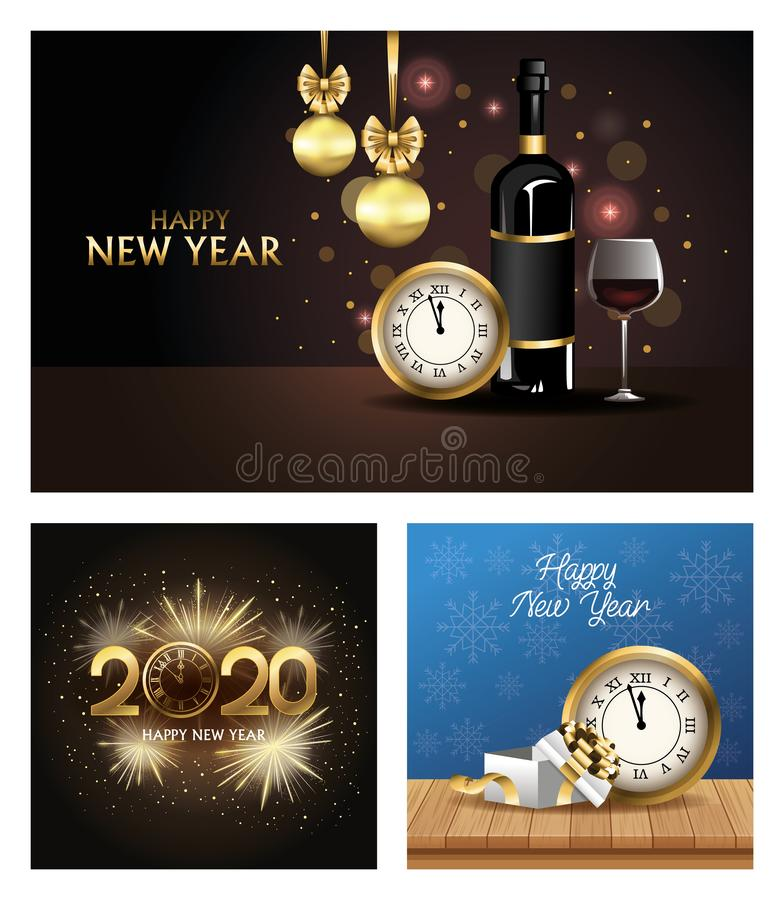 Happy new year 2020 bundle of cards royalty free illustration