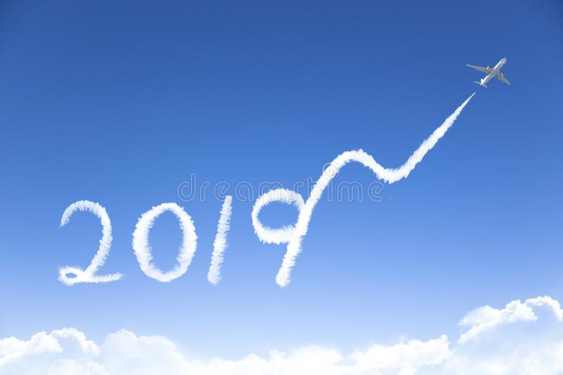 New year 2019 and business growth concept.drawing by airpl royalty free stock photo