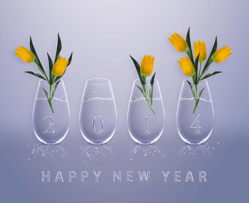 Happy New Year. New year 2014 Calendar with conceptual image of yellow tulips in glass vases, the same concept available for 2015, 2016 and 2017 year royalty free stock photo