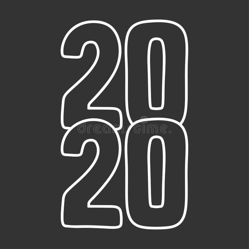 Happy New Year 2020. Calendar cover, brochure design, card, banner template. Cartoon style vector image. Happy New Year 2020 sign. Calendar cover, brochure stock illustration