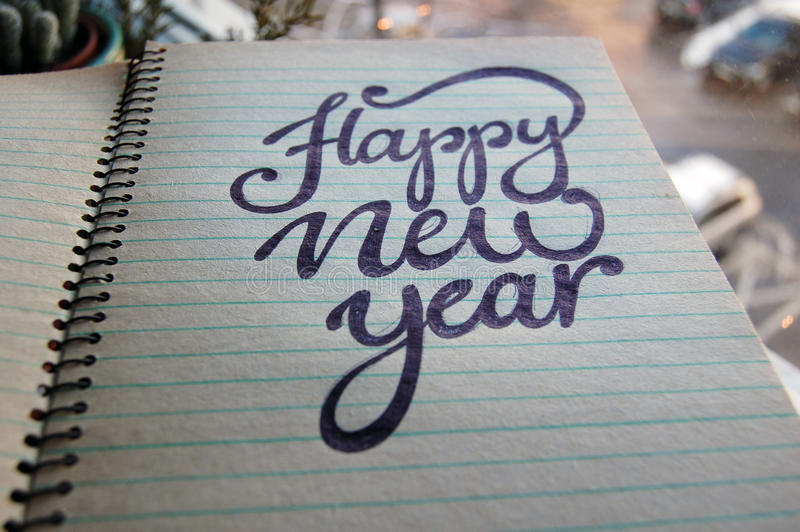 Download Happy New Year Calligraphic Background Stock Photo - Image: 83712983