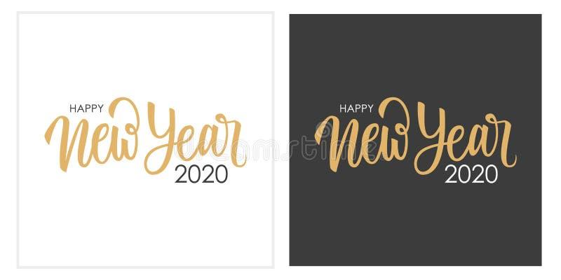 Happy New Year 2020 calligraphic lettering text design cards set Kreative Typografie für Urlaubsgrüße im neuen Jahr vektor abbildung
