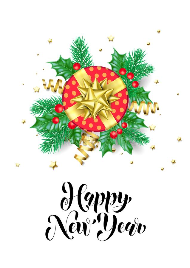 Happy New Year calligraphy hand drawn text for greeting card background template. Vector Christmas tree holly wreath decoration, r royalty free illustration