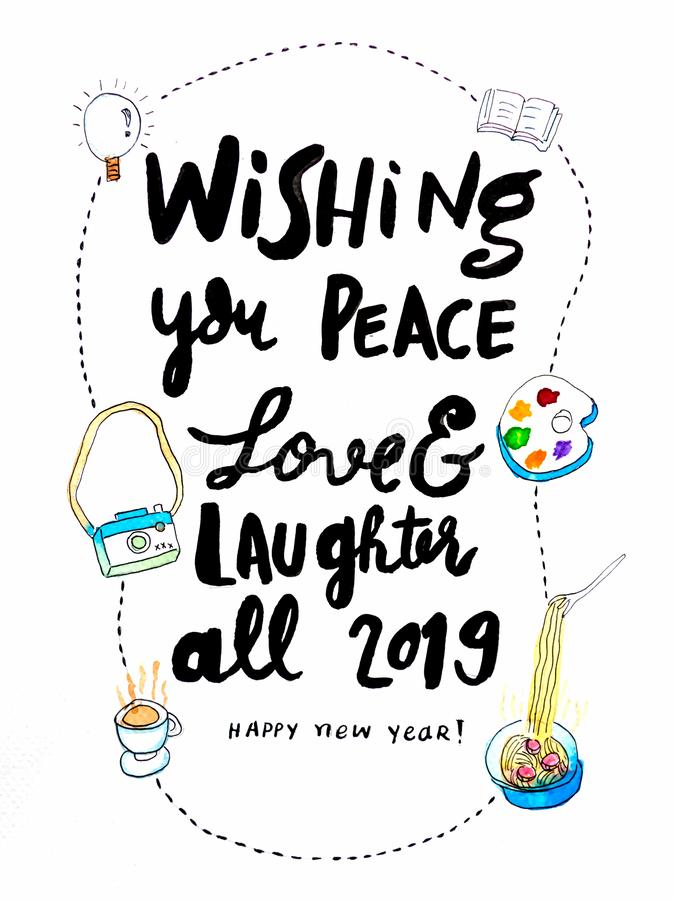 Happy New Year 2019 calligraphy hand writing, new year wishes card royalty free stock image