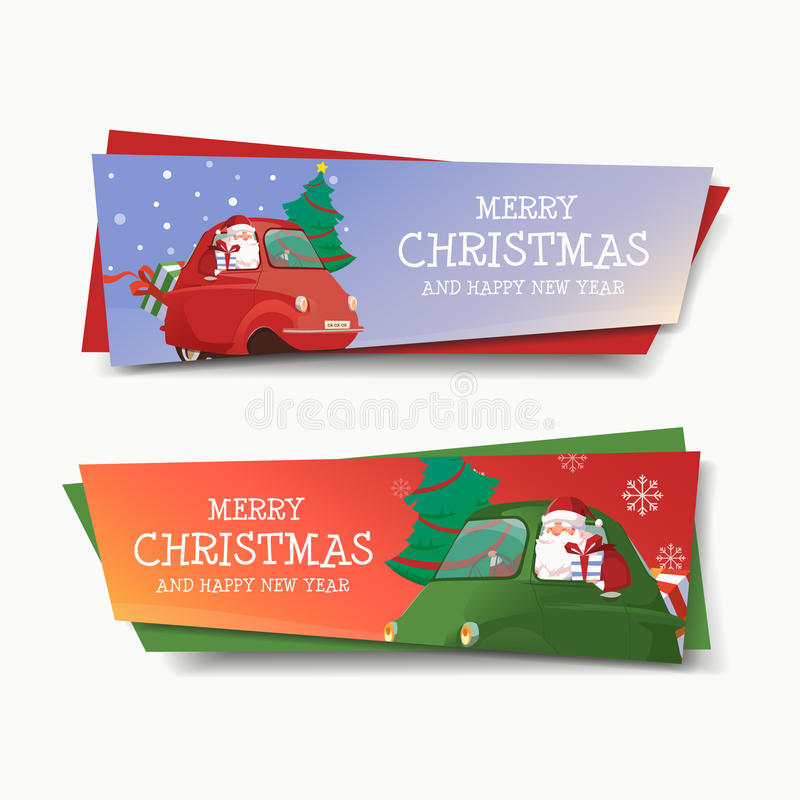 Happy New Year Car Banner Design stock images