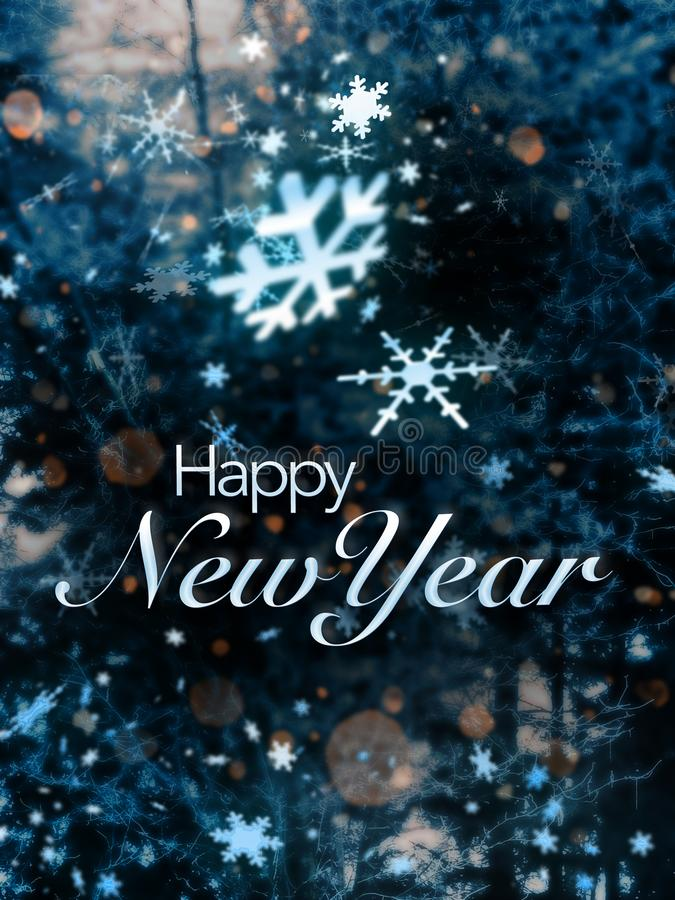 Happy New Year card. Artistic cover of a card with the text 'Happy New Year' superposed on a background of white snowflake crystals in all shapes and sizes royalty free stock photos