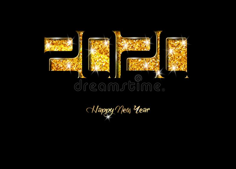 2020 Happy New Year card in black paper cut style, seasonal holidays flyers, greetings and invitations cards, Christmas themed. Congratulations and banners stock illustration