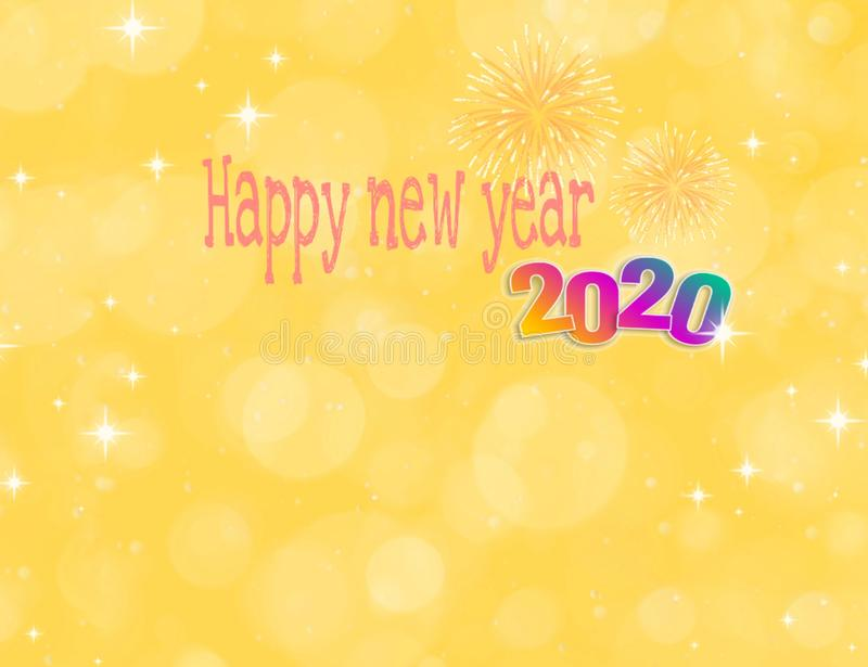 Happy new year 2020 card with bokeh background royalty free illustration