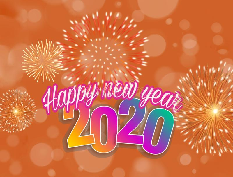 Happy new year 2020 card with bokeh background stock illustration