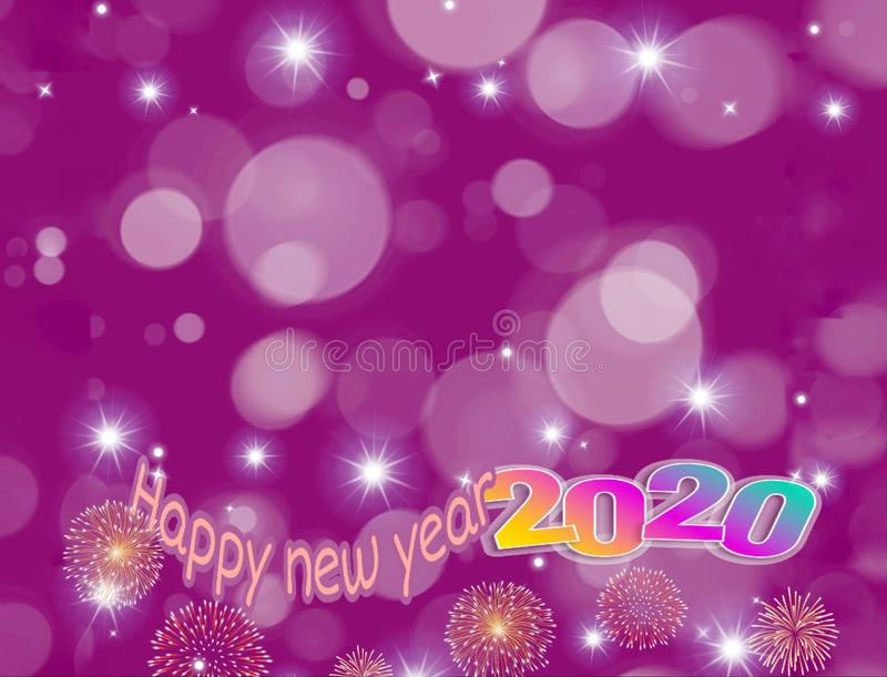 Happy new year 2020 card with bokeh background vector illustration