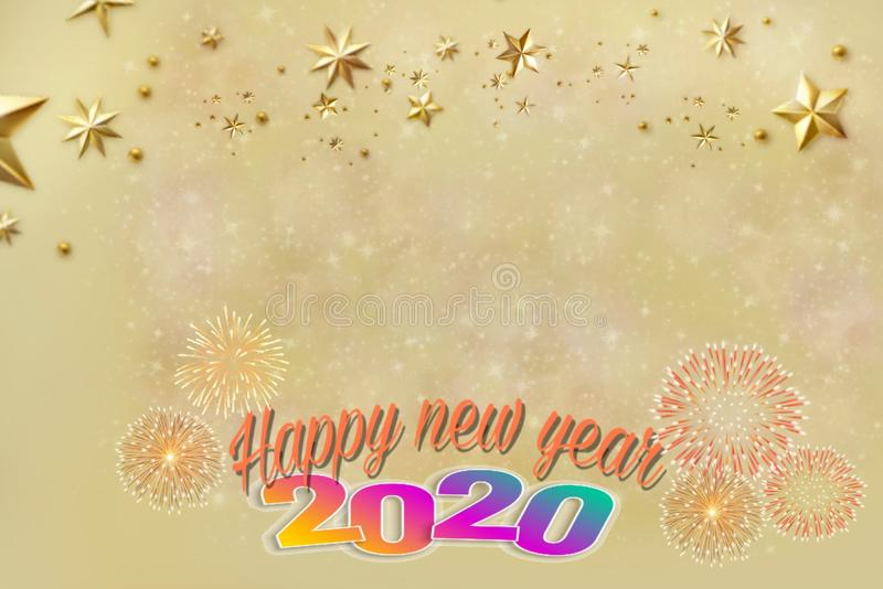 Happy new year 2020 card with bokeh and fireworks stock illustration