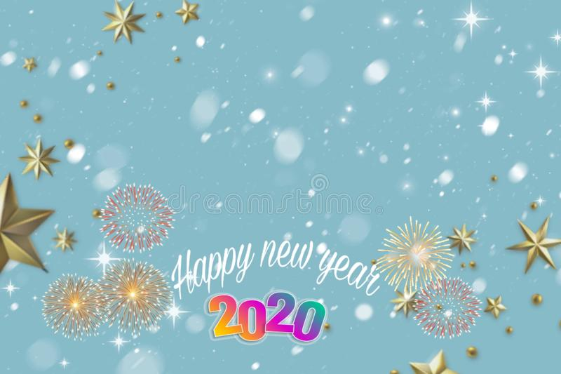 Happy new year 2020 card with bokeh and fireworks royalty free illustration