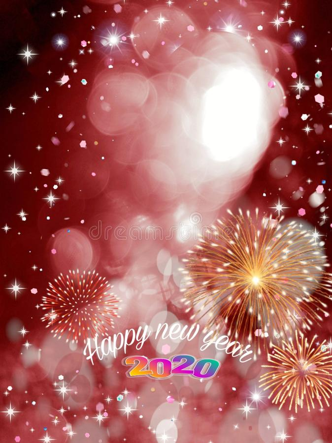 Happy new year 2020 card with bokeh and fireworks vector illustration