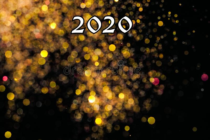 Happy new year 2020 card with bouquet royalty free stock images