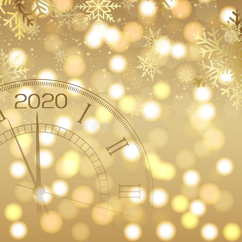 Happy New Year card with clock and fireworks. 2020 Vector royalty free illustration