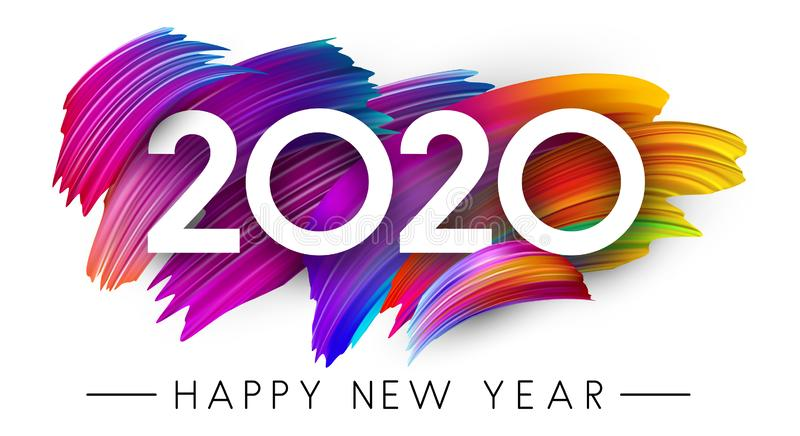 Happy New Year 2020 card with colorful brush stroke design. royalty free illustration