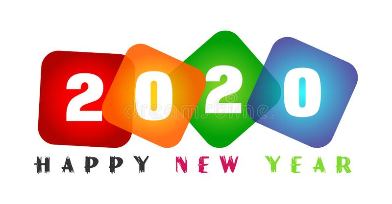 Happy New Year 2020 card and colorful greeting text design in colored on white background royalty free stock photos