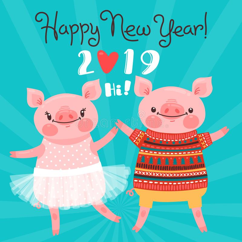 Happy 2019 New Year card. Couple of funny piglets congratulate on the holiday. Pig in ballet tutu and boar in sweater vector illustration