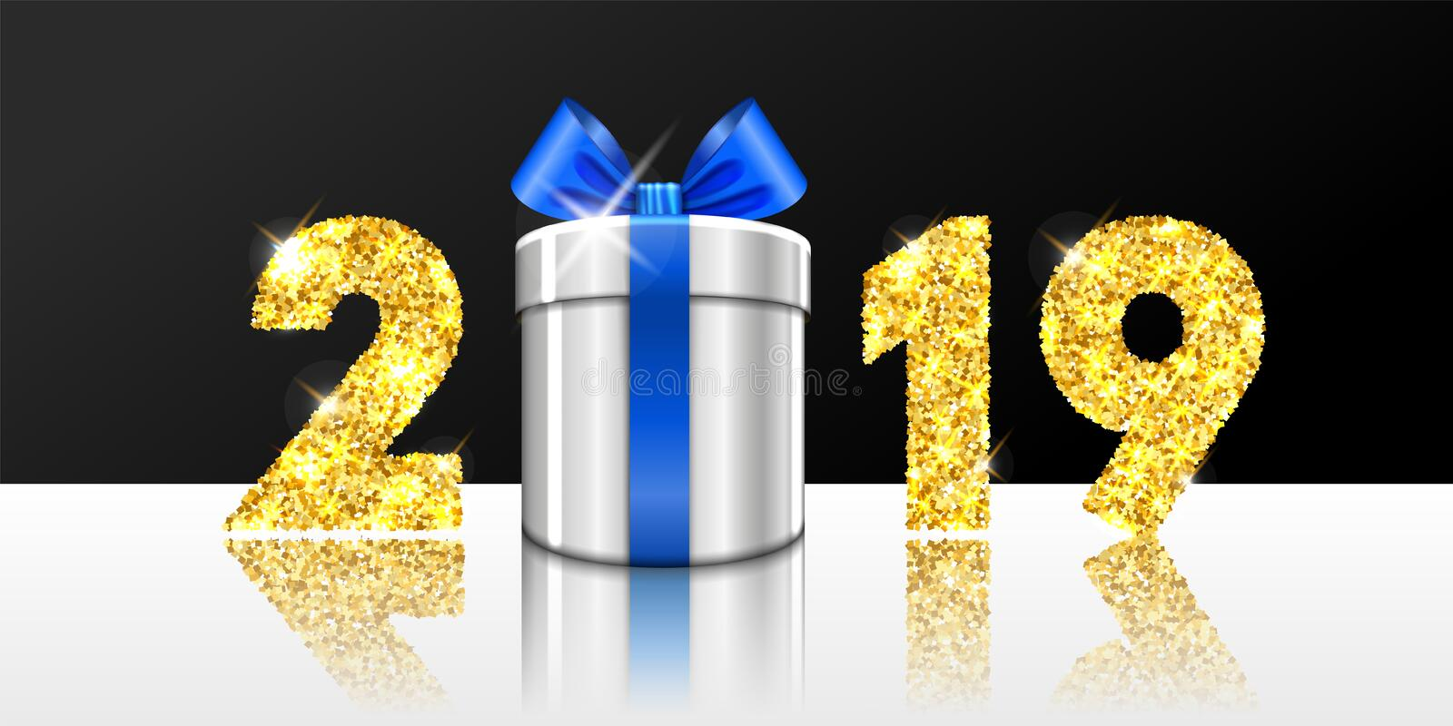 Happy New year card. 3D gift box, ribbon bow, gold number 2019 isolated white-black background. Golden texture Christmas. Glitter design. Holiday celebration royalty free illustration