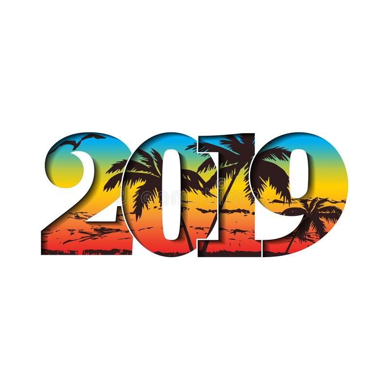 Happy new year card. 3D number 2019 with rainbow gradient texture, isolated white background. Bright graphic design vector illustration