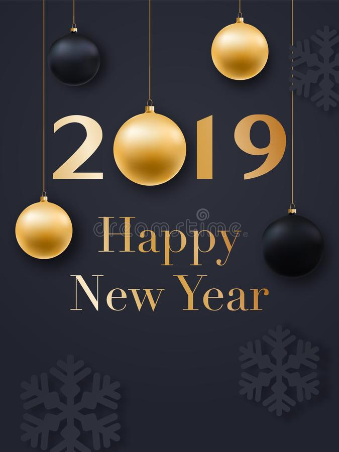 Happy New Year 2019 card design. Realistic Christmas golden balls, snowflakes and confetti. royalty free illustration