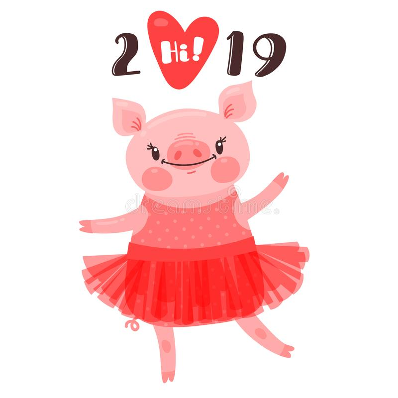 2019 Happy New Year card design. Symbol of the Chinese calendar cute pig greets with love. Dancing piglet in a ballet vector illustration