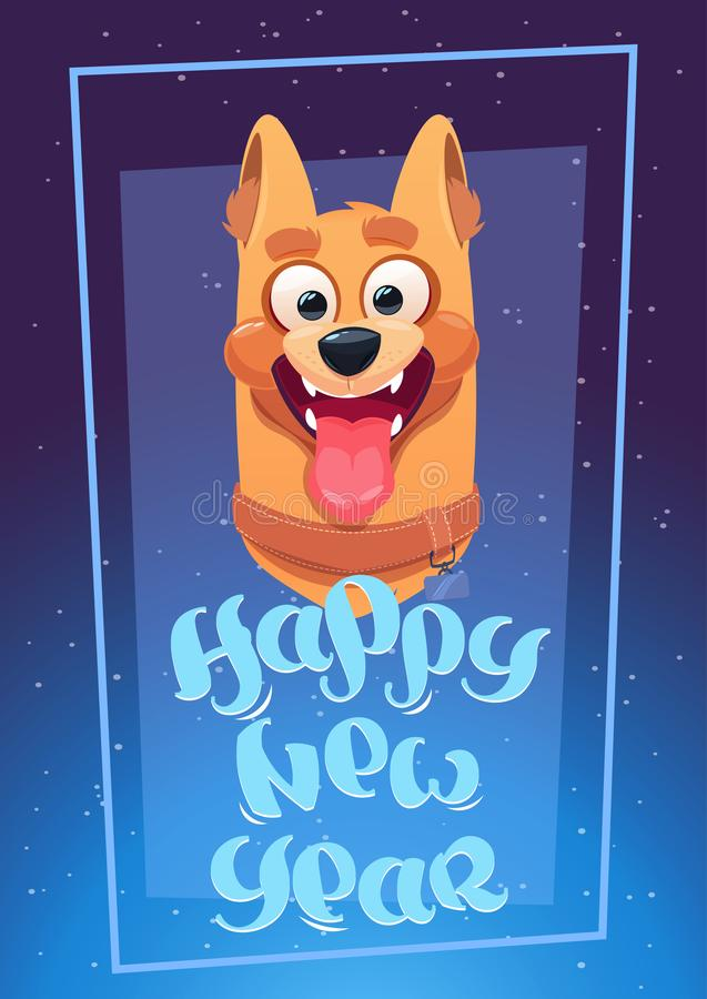 Happy New Year Card With Dog Blue Background 2018 Symbol Holiday Bannner. Vector Illustration stock illustration