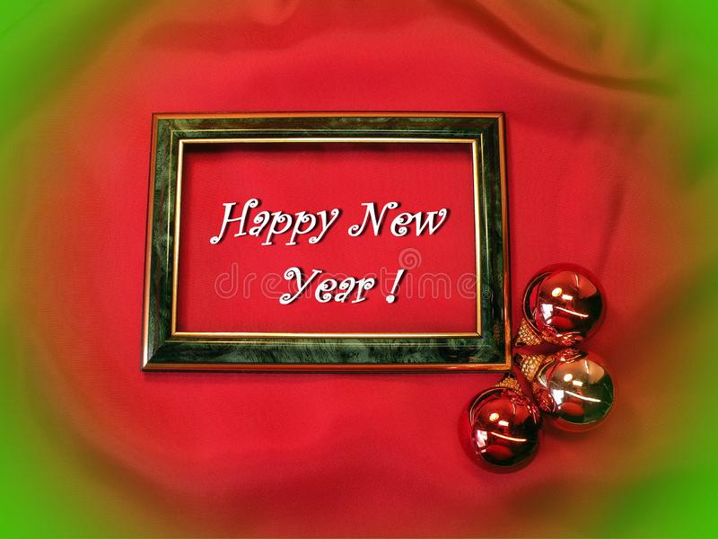 Happy New Year card done using red shining balls , Lithuania. Happy New Year card done using frame and red shining festive balls stock images