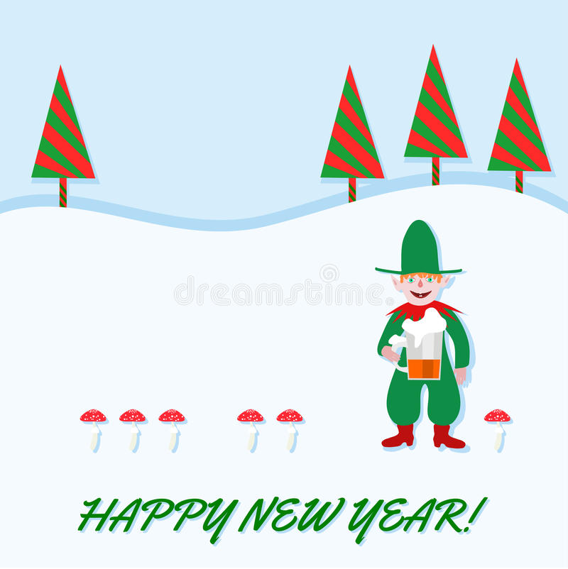 Happy New Year card with elf stock photo