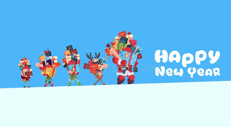 Happy New Year Card With Elves, Reindeer And Santa Carrying Gift Boxes Stack Christmas Holiday Presents Concept vector illustration