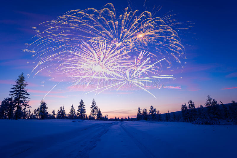 Happy New Year card with firework, forest and northern light. Winter stock photos