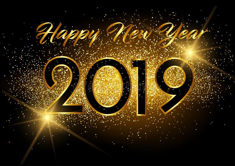 Happy New Year 2019 card Golden design . stock illustration
