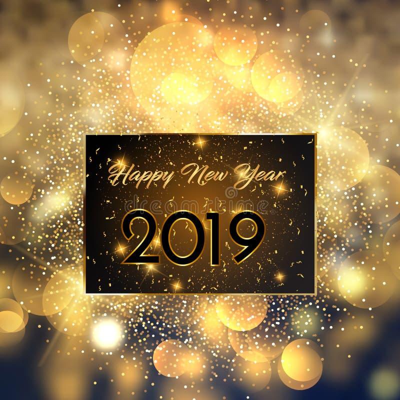 Happy New Year 2019 card Golden design. vector illustration