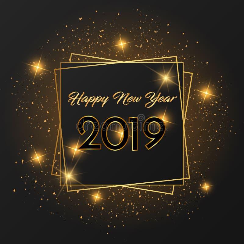 Happy New Year 2019 card Golden design. stock illustration