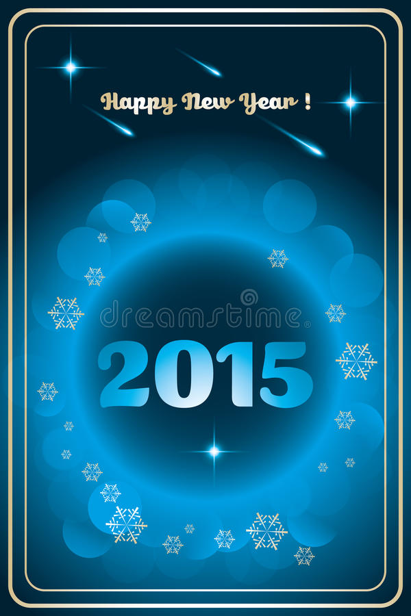 Happy New Year 2015. Happy new year card (2015) with golden snowflakes and bubbles on shiny deep blue background - available as vector and jpg-file royalty free illustration