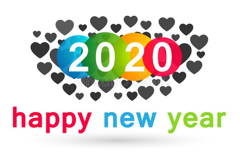 Happy New Year 2020 card and heart love concept colorful greeting text design in colored on white background royalty free illustration