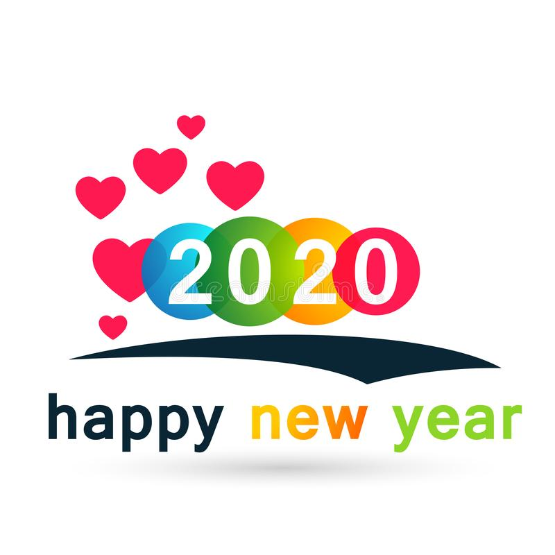 Happy New Year 2020 Card And Heart Love Concept Colorful