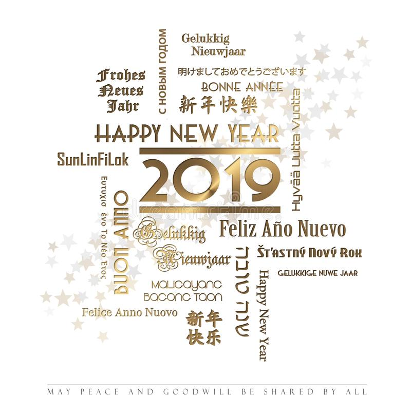 Happy New Year Card Languages 2019 vector illustration
