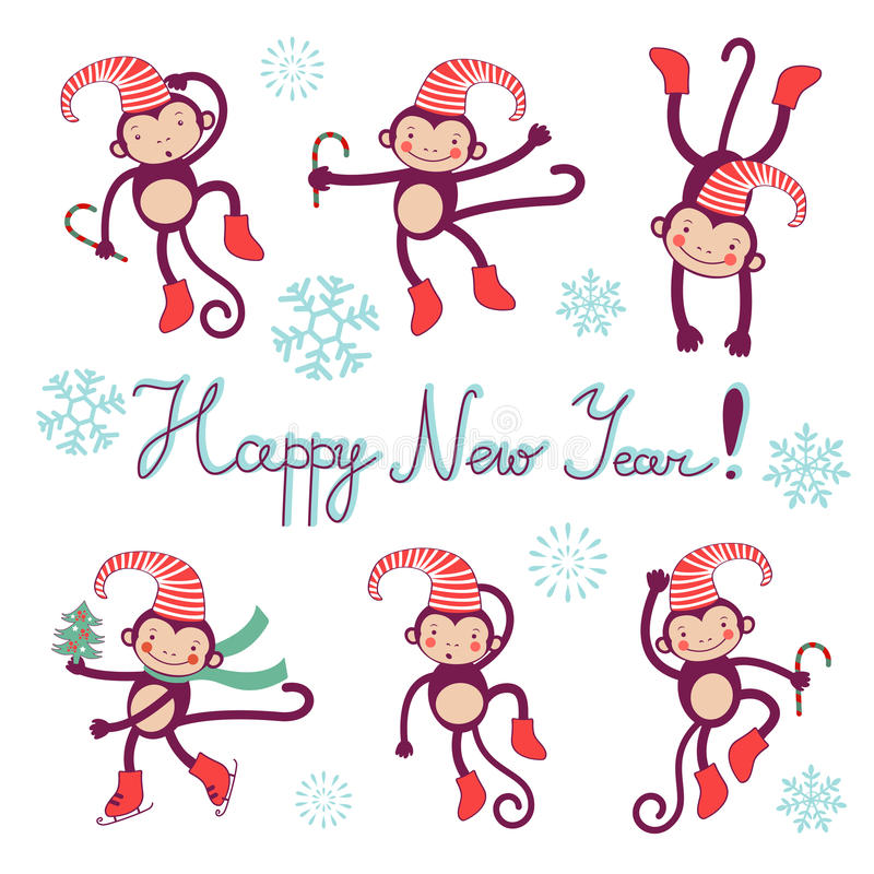 Happy new year card with monkeys - symbol of 2016 royalty free illustration