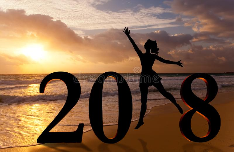 Happy new year card 2018. Silhouette young woman jumping on tropical beach over the sea and 2018 number with sunset background royalty free stock images
