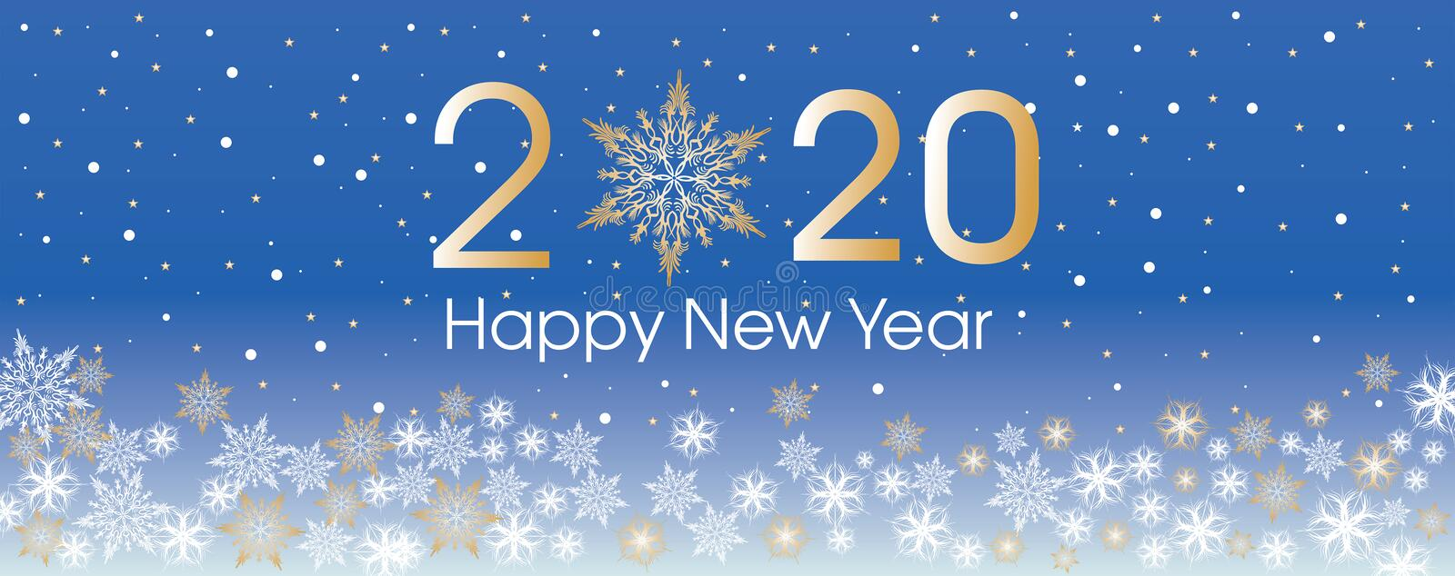2020 Happy New Year card template. Design patern snowflakes. White, gold and blue color vector illustration